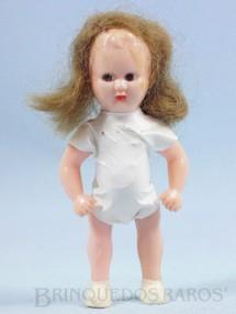 1. Brinquedos antigos - Estrela - Boneca Estrelinha com 8,00 cm de altura Roupa branca de tecido plástico Olhos pintados Cabelo Natural Ano 1957