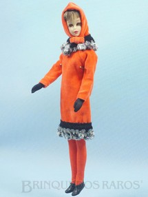 Brinquedos Antigos - Mattel - Boneca Francie prima da Barbie vestindo o Conjunto Orange Cosy Anos 1966 e 1967 Para maiores informações sobre essa Boneca veja Coleções.