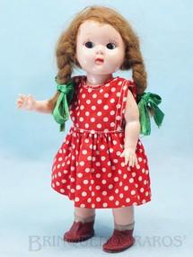 1. Brinquedos antigos - Estrela - Boneca Plastrela com 19,00 cm de altura Articulada toda original Vestido de algodão Olhos de dormir Cabelo natural Ano 1956