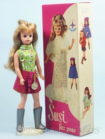 Brinquedos Antigos - Estrela - Boneca Susi Série Susi faz Pose 100% original Perfeito estado Completa com Suporte Ano 1969