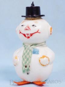 1. Brinquedos antigos - Sem identificação - Boneco de Neve com 8,00 cm de altura Brinde Frigidaire completo com cachecol de tecido Década de 1960