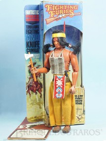 1. Brinquedos antigos - Matchbox - Boneco Índio Crazy Horse Série Fighting Furies com 20,00 cm de altura Roupas de tecido Década de 1970