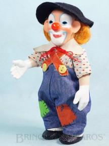 1. Brinquedos antigos - Estrela - Boneco Palhaço Bimbo com 18,00 cm de altura Todo articulado Camisa de cambraia e Calça de brim Cabelo de nylon Ano 1970