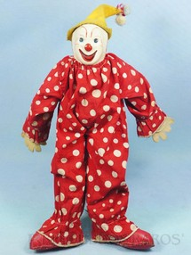 Brinquedos Antigos - Estrela - Boneco Palhaço Bimbo com 37,00 cm de altura Rosto de plástico Corpo de tecido todo articulado Mãos de feltro Sapatos de tecido plástico Ano 1957
