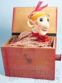 1. Brinquedos antigos - Orbis - João Perotti - Caixa com Palhaço de mola 12,00 x 12,00 cm de base  Década de 1950