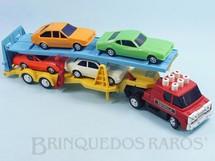 1. Brinquedos antigos - Estrela - Caminhão Cegonha Jamanta Comando Eletrônico botões pintados com 4 carros Puma Maverick Passat e Chevette Ano 1977