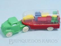 Brinquedos Antigos - Ideal - Caminhão de Mudança com Cavalo Mecânico e Carreta transparente com diversos móveis em miniatura 14,00 cm de comprimento Década de 1950