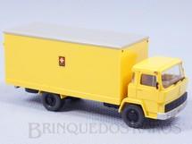 1. Brinquedos antigos - Wiking - Caminhão Magirus Deutz Baú do Correio Suíço Década de 1980