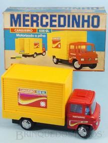 Brinquedos Antigos - Glasslite - Caminhão Mercedes Benz 608 GL com 24,00 cm de comprimento Mercedinho Glasslite Versão Furgão Década de 1980