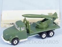 1. Brinquedos antigos - Pevi - Caminhão Militar com foguete 6,5 cm de comprimento Década de 1990