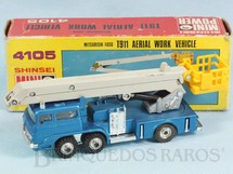 1. Brinquedos antigos - Shinsei - Caminhão Mitsubishi Fuso T811 Aerial Work Vehicle com 15,00 cm de comprimento Série Mini Power Década de 1980