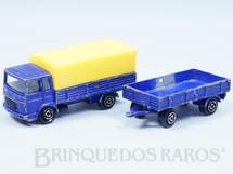 1. Brinquedos antigos - Majorette-Kiko - Caminhão Saviem com reboque Majorette Brésilien Kiko Década de 1980