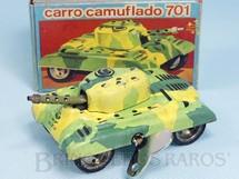 1. Brinquedos antigos - Estrela - Carro de Combate Camuflado 701 com 9,00 cm de comprimento Versão com rodas de borracha Ano 1972