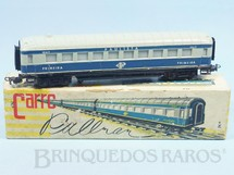 Brinquedos Antigos - Atma - Carro de Passageiros azul Companhia Paulista primeira classe Corrente Alternada Atma Mirim Década de 1950