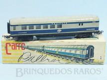 Brinquedos Antigos - Atma - Carro de Passageiros azul Companhia Paulista primeira classe e bagagens Corrente Alternada Atma Mirim Década de 1950