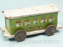 1. Brinquedos antigos - EVA - Carro de Passageiros Verde Estrada de Ferro Central do Brasil com 14,00 cm de comprimento Ano 1937