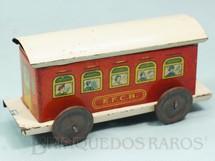 1. Brinquedos antigos - EVA - Carro de Passageiros Vermelho Estrada de Ferro Central do Brasil com 14,00 cm de comprimento Ano 1937