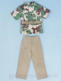 Brinquedos Antigos - Estrela - Casaco Calça e Cinto da Aventura Luta Selvagem Sobrevivendo no Inferno Verde Edição 1977 falta um botão