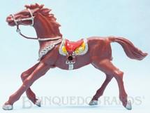 1. Brinquedos antigos - Casablanca e Gulliver - Cavalo de Cowboy marrom Casablanca numerado 4 com furo lateral para Carroças