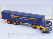 1. Brinquedos antigos - Wiking - Cavalo Mecânico Scania LB 11 com Carreta carga seca ASG Transport