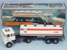 1. Brinquedos antigos - Elka - Cavalo Mecânico Scania Vabis LK141 com carreta Tanque Esso 56,00 cm de comprimento Perfeito estado Completo e 100% original Chassi cinza Década de 1980