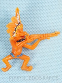 1. Brinquedos antigos - Casablanca e Gulliver - Chefe Índio a cavalo atirando com rifle Série Brincalhões de Forte Apache Ano 1973