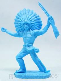 1. Brinquedos antigos - Casablanca e Gulliver - Chefe índio avançando com rifle Plástico azul Década de 1980