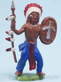 Brinquedos Antigos - Britains - Chefe índio de pé com lança e escudo Década de 1970