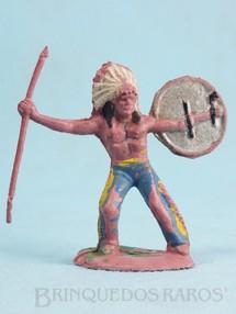 Brinquedos Antigos - Casablanca e Gulliver - Chefe índio de pé com lança e escudo Gulliver Década de 1970