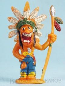 Brinquedos Antigos - Casablanca e Gulliver - Chefe �ndio de p� com lan�a S�rie Brincalh�es de Forte Apache Ano 1973