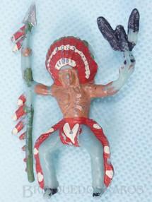 Brinquedos Antigos - Casablanca e Gulliver - Chefe índio montado a cavalo com lança e águia Chefe Falcão Negro Casablanca numerado 16 Década de 1960