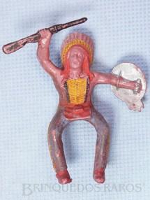 1. Brinquedos antigos - Casablanca e Gulliver - Chefe índio montado a cavalo com rifle e escudo