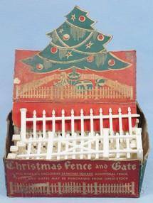 1. Brinquedos antigos - Bachmann - Conjunto com 16 Cercas para colocar em Arvores de Natal Década de 1950