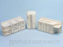 Brinquedos Antigos - Sem identificação - Conjunto com 3 peças de móveis de Cozinha de Casa de Bonecas Década de 1950