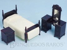 1. Brinquedos antigos - Ideal - Conjunto com 3 peças de móveis de Quarto de Solteira de Casa de Bonecas Década de 1950