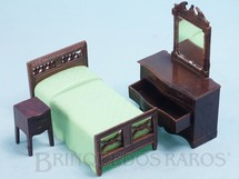 1. Brinquedos antigos - Renwal - Conjunto com 3 peças de móveis de Quarto de Solteira de Casa de Bonecas Década de 1950