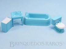 Brinquedos Antigos - Plasco Toy - Conjunto com 4 peças de móveis de Banheiro de Casa de Bonecas Década de 1950