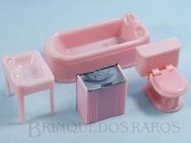 1. Brinquedos antigos - Plasco Toy - Conjunto com 4 peças de móveis de Banheiro de Casa de Bonecas Década de 1950