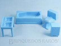 Brinquedos Antigos - Atma - Conjunto com 4 peças de móveis de Banheiro de Casa de Bonecas Década de 1970