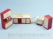 Brinquedos Antigos - Elka - Conjunto com 4 peças de móveis de Cozinha de Casa de Bonecas Década de 1970