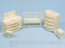 Brinquedos Antigos - Plasco Toy - Conjunto com 5 peças de móveis de Quarto de Bebê de Casa de Bonecas Década de 1950