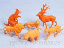 1. Brinquedos antigos - Casablanca e Gulliver - Conjunto com 6 Animais Selvagens diversos Série Zoológico Década de 1970
