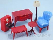 1. Brinquedos antigos - Renwal - Conjunto com 6 peças de móveis de Sala de Estar de Casa de Bonecas Década de 1950
