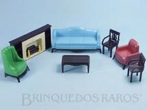 Brinquedos Antigos - Plasco Toy - Conjunto com 7 peças de móveis de Sala de Estar de Casa de Bonecas Década de 1950