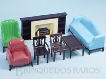 1. Brinquedos antigos - Plasco Toy - Conjunto com 7 peças de móveis de Sala de Estar de Casa de Bonecas Década de 1950