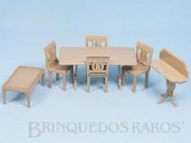 Brinquedos Antigos - Plasco Toy - Conjunto com 7 peças de móveis de Sala de Jantar de Casa de Bonecas Década de 1950