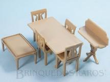 1. Brinquedos antigos - Plasco Toy - Conjunto com 7 peças de móveis de Sala de Jantar de Casa de Bonecas Década de 1950