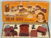 1. Brinquedos antigos - American Toy - Conjunto com 9 peças de móveis de Quarto de Casa de Bonecas Nancy Forbes Dream House Furniture Década de 1950