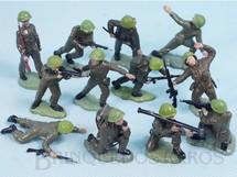 Brinquedos Antigos - Britains - Conjunto Completo com 12 Soldados ingleses em diversas poses diferentes Década de 1970