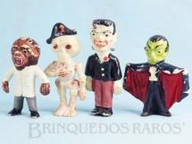 1. Brinquedos antigos - Casablanca e Gulliver - Conjunto Completo com 4 personagens clássicos de Terror Frankstein Drácula Caveira e Lobsomem 8,00 cm de altura Década de 1970